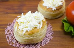 Homebaked puff pastry with cheese Royalty Free Stock Photography