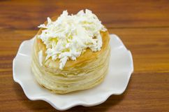 Homebaked puff pastry with cheese Stock Photos