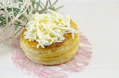 Homebaked puff pastry with cheese Royalty Free Stock Images