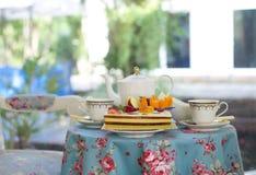 Homebakery cake and fresh fruit with English tea Stock Photo
