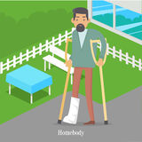 Homebody on Crutches with Broken Leg Walking Royalty Free Stock Images