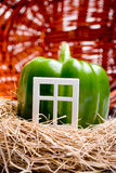Homebrew. Green pepper house shaped inside wicker basket Royalty Free Stock Image