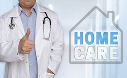 Homecare概念和医生有赞许的 库存照片