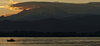 Homecoming. Sunset over the Monte Rosa royalty free stock photo