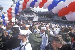 Homecoming for American sailors. From the sea Stock Images