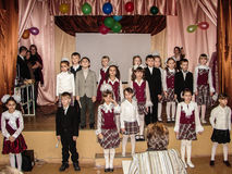 A homecoming at a rural school in Kaluga region in Russia. In Russian schools the annual tradition is held the evening reunion, when the school is visited by Royalty Free Stock Photography