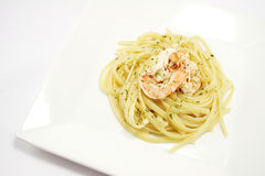 Homecooked aglio olio linguine, top view Stock Photo