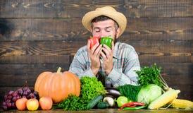 Homegrown harvest concept. Typical farmer guy. Farm market harvest festival. Man mature bearded farmer hold vegetables. Wooden background. Sell vegetables royalty free stock images