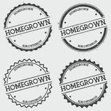 Homegrown insignia stamp isolated on white. Homegrown insignia stamp isolated on white background. Grunge round hipster seal with text, ink texture and splatter Stock Photography