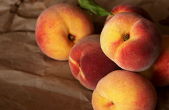 Homegrown juicy peaches from the garden. Organic Stock Images