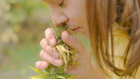 Homegrown Marijuana Plant. Young caucasian woman smelling homegarden grown plant Stock Photos