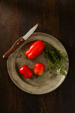 Homegrown Plum Tomatoes With Thyme Royalty Free Stock Images
