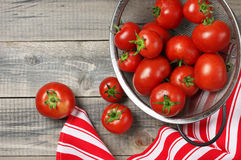 Homegrown tomatoes in colander Royalty Free Stock Image