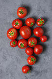 Homegrown tomatoes on grey Stock Photos