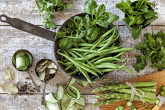 Homegrown vegetables and herbs Royalty Free Stock Image