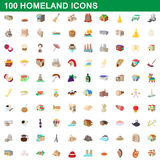 100 homeland icons set, cartoon style. 100 homeland icons set in cartoon style for any design vector illustration Stock Images