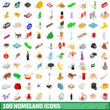100 homeland icons set, isometric 3d style. 100 homeland icons set in isometric 3d style for any design vector illustration Royalty Free Stock Photos