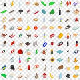 100 homeland icons set, isometric 3d style. 100 homeland icons set in isometric 3d style for any design vector illustration Stock Image