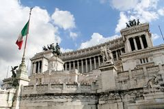 Homeland's Altar in Rome. Homeland's Altar, also called Victor Emmanuel II monument, is an enourmus building in Piazza Venezia, Rome, Italy Stock Photo