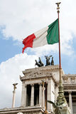 Homeland's Altar in Rome - Detail. A detail of the Homeland's Altar with italian flag, also called Victor Emmanuel II monument, an enourmus building in Piazza Stock Photo