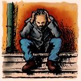Homeless. A homeless man who lives in solitude Stock Photos