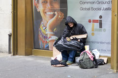 Homeless. American Veteran becomes a homeless beggar after the economic crisis of 2008 wandering in New York streets during the day and using subway stations at stock photography