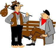 Homeless. Men chatting in park while sitting on bench Stock Images