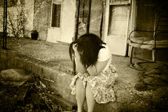 Homeless. Illustration of a homeless teenage girl Royalty Free Stock Photos
