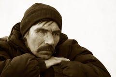 Sad homeless man in depression Royalty Free Stock Photo