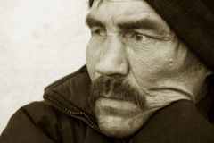 Sad homeless man Stock Photo