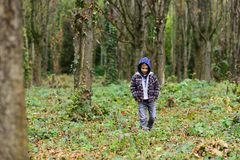 Homeless and abandoned. Homeless child walk in woods. Homeless boy without parental care outdoor. Street child has to. Seek homeless shelter and food royalty free stock photo