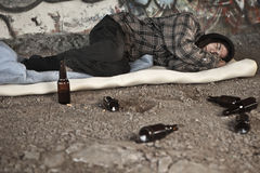 Homeless alcoholic man Royalty Free Stock Photos