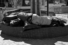 Homeless in america. Homeless person sleeping in city square with plastic bags and suitcase full of belongings, harvard square, cambridge, massachusetts, America Stock Photography
