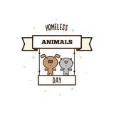 Homeless animals day. Vector illustration. Of dog and cat Royalty Free Stock Photography