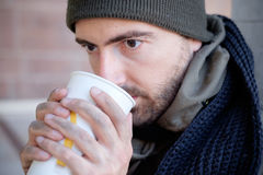 Homeless asking for charity Royalty Free Stock Photography