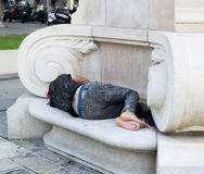 Homeless in Barcelona royalty free stock image