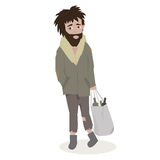 Homeless. Bearded Man in dirty rags. Vector Illustration. Stock Images