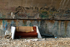 Homeless bed. Placed under bridge Royalty Free Stock Photography