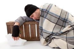 Homeless beggar sleeping Royalty Free Stock Photo