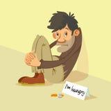 Homeless begs for money. Homeless hungry beggar begs for money, vector illustration Stock Photo
