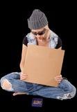 Homeless with blank cardboard Stock Photos
