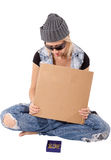 Homeless with blank cardboard Stock Photo