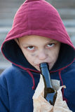 Homeless boy drink alcohol Stock Photo