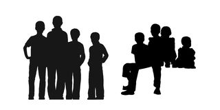Homeless boys in the street silhouettes set 1 Stock Photo