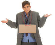 Homeless businessman with blank card Stock Images