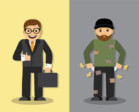 Homeless and businessman Stock Photo