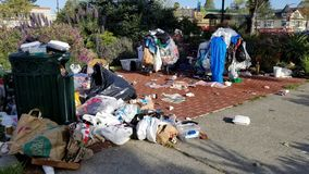 The Gentrification War: Homeless Camps Of Oakland San Francisco Bay Area Stock Images