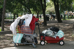 Homeless cart and wagon Royalty Free Stock Photography