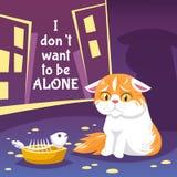 Homeless Cat Illustration Royalty Free Stock Photography