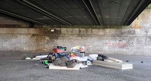 Homeless in Cologne. Cologne homeless sleeping under a bridge Stock Images